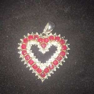 Natural Ruby, diamond heart pendant10k white gold